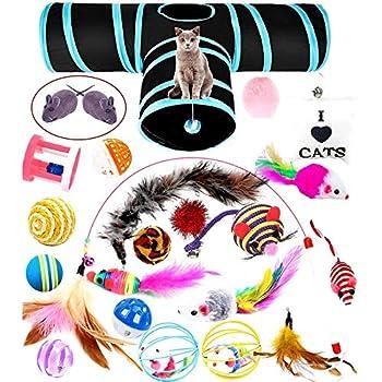 wordmo Jouets pour Chats avec Chat Tunnel Jouets,23pcs Souris Sisal, Boule Plume, Canne a Peche Inclus, Kitten Toys Variété Pack Chaton Chat Animaux Domestiques Toys