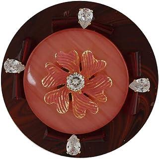 Anuradha Art Jewellery Peach Colour Round Shape Trendy Traditional Saree Pin For Stylish Women