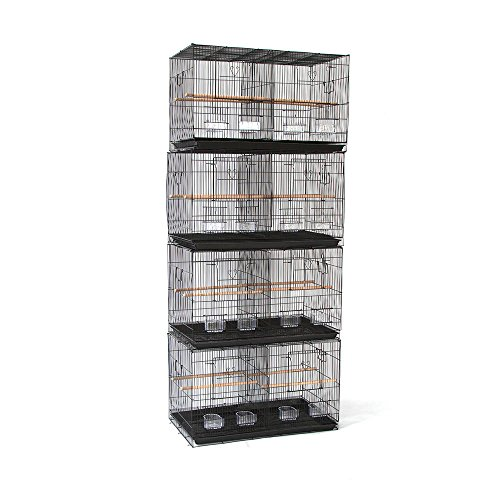 Flyline Lot of 4 Breeding Bird Carrier Cage with Dividor 30 x 18 x18 for Parakeet Canary Finch Loverbird (Black)