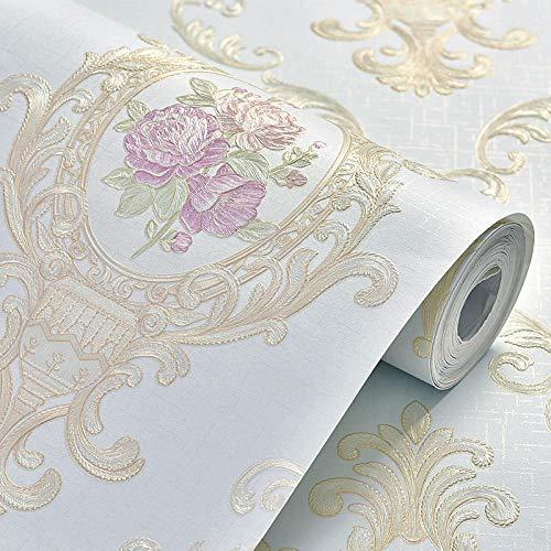 LPWUK Papel tapiz no tejido de flores grandes pastoral europea engrosado y prensado, papel tapiz para sala de estar, dormitorio, tienda de ropa, 0,53 m * 10 m-C