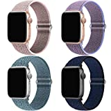 QIENGO 4Pack Compatible for Apple Watch Band 38mm 40mm,Nylon Velcro Adjustable Soft Lightweight Breathable Sports Replacement Band Braided Stretchy Elastic Strap for Series6 5 4 3 2 1 se(4PackD)
