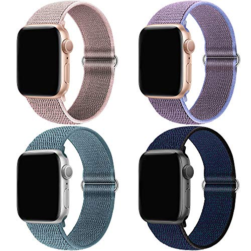 QIENGO 4Pack Compatible for Apple Watch Band 38mm 40mm,Adjustable Soft Lightweight Breathable Sports Replacement Band for Series6 5 4 3 2 1 se(4PackD)