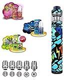 Twister mit Fireluke 2 von FreeMaX E-Zigarette Set Graffiti Blau   80 W Spinner Regelung   Verdampfer Edelstahl & Glas   Tube Mod einfache Einstellung   mit American Stars Liquid - 00 mg - Nikotinfrei
