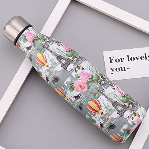 Kreative Blume Rattan Thermoskanne Outdoor-Reise Edelstahl-Isolierflasche Kinder mit großem Fassungsvermögen isolierte auslaufsichere Thermoskanne 500ml, G, 500ml