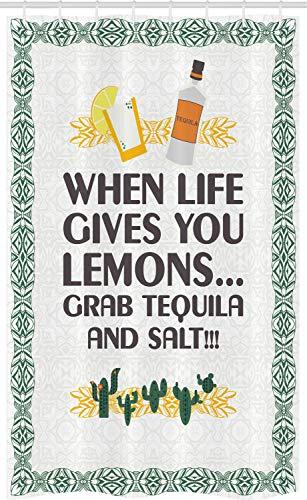 ABAKUHAUS Tequila Douchegordijn, Mexicaanse Drink Woorden, voor Douchecabine Stoffen Badkamer Decoratie Set met Ophangringen, 120 x 180 cm, Veelkleurig