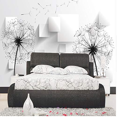 Cczxfcc Fotobehang 3D paardenbloem behang zwart en wit minimalistische moderne minimalistische woonkamer 3D-wallpaper 450 cm x 300 cm.