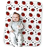 Personalized Ladybug Blanket, Custom Baby Name, Gift for Boys and Girls, Soft Flannel Wool Blanket 30 x 40 inches