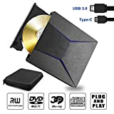 Grabadora BLU Ray Externa Unidad Disco óptico Bluray Externo 3D Lector Reproductor bluray 4k USB 3.0 y Type-C, Slim Grabadora Bluray Externo CD DVD Combo para Windows XP 7 8 10, MacOS, Vista