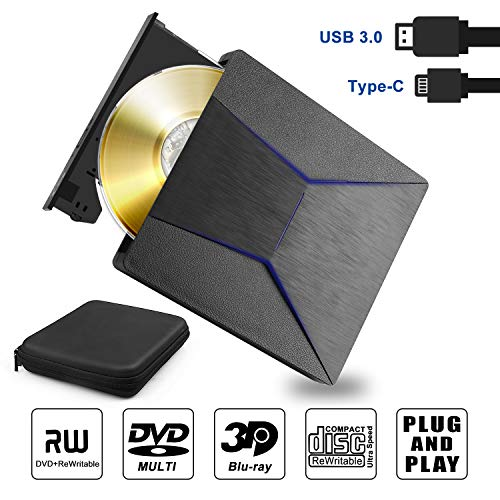 Lettore Masterizzatore Blu Ray DVD Esterno 4K 3D Unità BluRay Esterno DVD Lettore USB 3.0 e Type-C CD DVD Reader Burner per Windows 7 8 10, Vista, MacOS, Laptop, PC