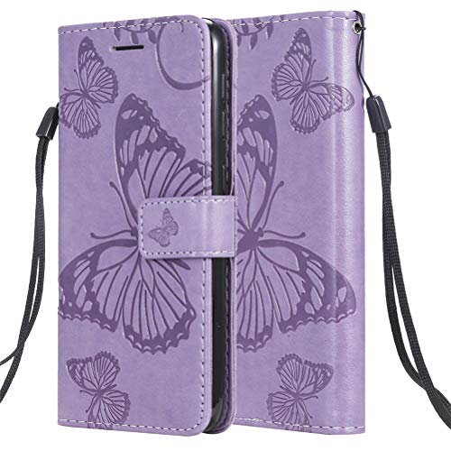 COTDINFORCA for Samsung Galaxy Note 10 Pro Case PU Leather Butterfly Embossing Flip Wallet Cover Fold Stand Smartphone Phone Case for Samsung Galaxy Note 10 Pro/Note 10+ Plus Butterfly Purple KT
