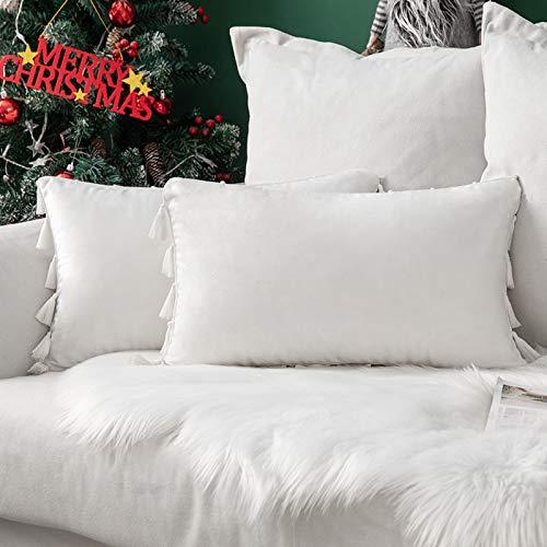MIULEE Pack de 2 Terciopelo Funda de Borla Sofa Cojine Fundas Almohada del Throw Cojines Decoracion Caso de la Cubierta Decorativo Almohadas para Sala de Estar 12x20inch 30x50cm Blanco Puro