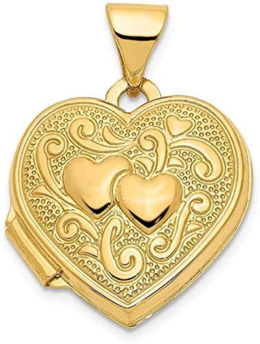 NC83 Collar de cadena de medallón con colgante de foto de corazón doble de oro amarillo de acero de titanio que contiene imágenes Joyería fina para mujeres Regalos para ella
