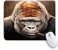 ZOMOY マウスパッド 個性的 おしゃれ 柔軟 かわいい ゴム製裏面 ゲーミングマウスパッド PC ノートパソコン オフィス用 デスクマット 滑り止め 耐久性が良い おもしろいパターン (ゴリラチンパンジーチンパンジージョッコオランスモーキングタバコ動物の想像力)