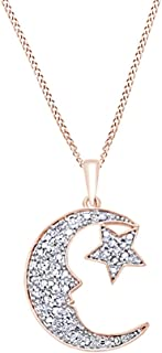 White Natural Diamond Moon & Star Pendant Necklace in 14k Gold Over Sterling Silver (0.25 Ct)