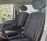 seatcovers by k-maniac Fundas de Asiento T5 T6 Multivan California Kombi Caravelle Transporter Kasten Elite Asiento del Conductor Asiento del copiloto, reposabrazos T6 T11, Color Negro y Antracita