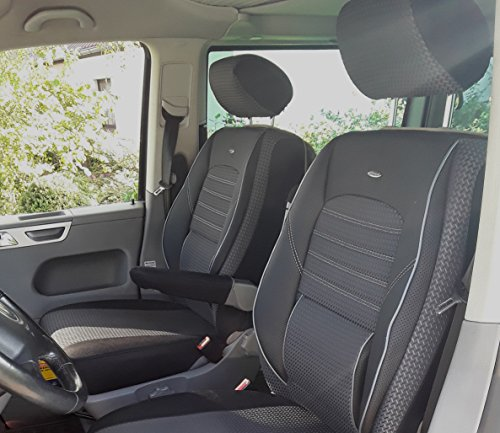 seatcovers by k-maniac Fundas de Asiento T5 T6 Multivan California Kombi Caravelle Transporter Kasten Elite Asiento del Conductor Asiento del copiloto reposabrazos