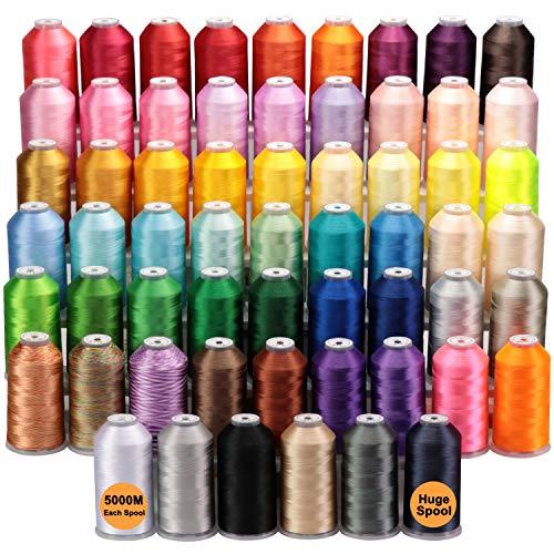 New brothread - Todos los 60 Colores Surtidos 5000M Grande Carrete Poliéster Bordado Máquina Hilo para máquinas de bordado comerciales y domésticas