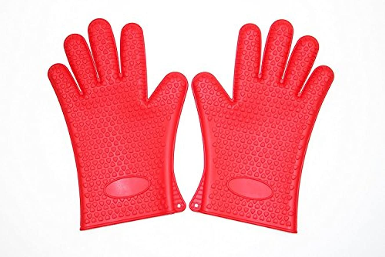 ShengHai Cooking Gloves–Heat Resistant Heavy Duty Silicone Oven Mitts Multi Uses BBQ Grilling Gloves & Hot Pads. Insulated, Waterproof. Total Finger, Hand, Wrist Protection.(Set of 2) (Red)