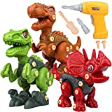 Sanlebi Toy for 4 5 6 Year Old Boys Take Apart Dinosaur Toys for Kids Building Toy Set with Electric Drill Construction Engineering Play Kit STEM Learning for Boys Girls Age 3 4 5 Year Old