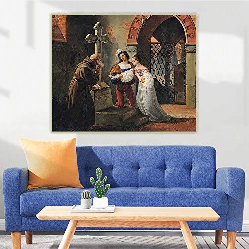 FANYUEART Arte de Pared en Lienzo para Cuadros de Dormitorio Decoración de Pared Francesco Hayezel Matrimonio de Romeo y Julieta Pinturas de Pared Retro 30x36cm 12