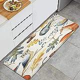 DYCBNESS alfombras de Cocina Antideslizantes Lavables,Hojas de otoño Ramas Bayas bellotas Seta,con Parte Trasera de Goma, felpudos para Interiores y Exteriores 45x120cm