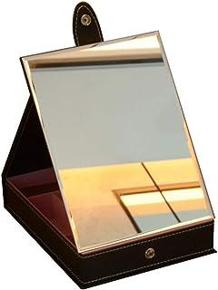 Vanity Mirror Desktop Makeup Mirror Foldable Base Storage Function Multi-Angle Adjustment Bracket PU HD Silver Plated for Family Dressing Room (Color : Black, Size : Large)