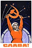 PosterOffice Yuri Gagarin Soviet Space Propaganda Poster - Size 24' X 36' - This is a Certified Print with Holographic Sequential Numbering for Authenticity.