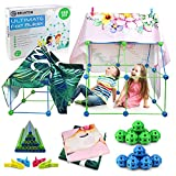 Fort Building Kit - Creative Indoor Tent Builder Set for Kids - 150-Piece Build a Fort Kit for Kids in Blue and Green - with Two Blankets, Giftable Box, and Instruction Manual