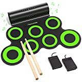 PAXCESS Electronic Drum Set, Roll Up Drum Practice Pad Midi Drum Kit with Headphone Jack Built-in Speaker Drum Pedals Drum Sticks 10 Hours Playtime, Great Holiday Birthday Gift for Kids