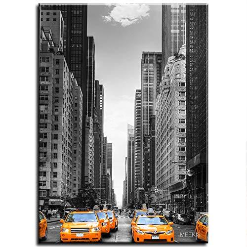 CELLYONE MEEKIS New York Taxi Malen nach Zahlen Kits Pinsel Acrylpigment Einzigartige Geschenke für Paare und Freunde 40x50cm