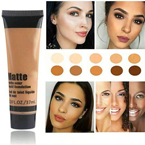 Base de maquillaje líquida, tinte transparente y amarillo, base líquida mate para rostro, base en crema, corrector, base impermeable, cobertura total para pieles grasas y maduras (BEIGE5)