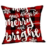 Leezo Christmas Cotton Linen Square Throw Pillow Cover Letter Printed Decorative...