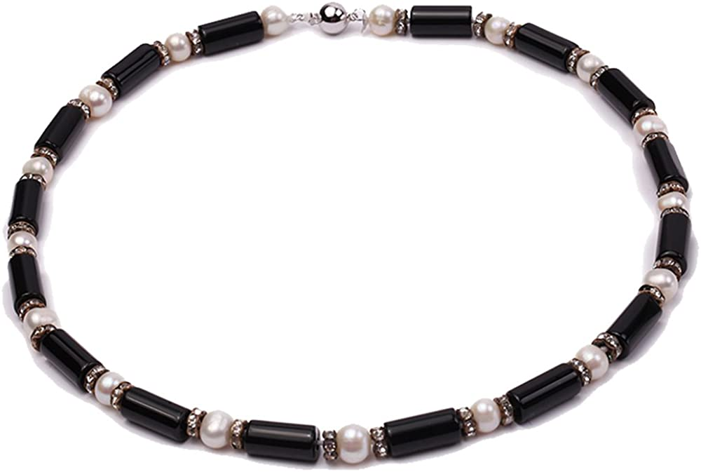 JYX Pearl Sigle Strand Necklace 7-8mm White Freshwater Pearl and Black Pilla Agate Necklace for Women 19
