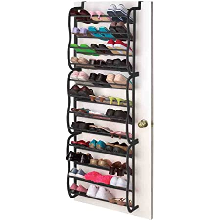 MTB 6 Tier Over The Door Shoe Rack Organizer Metal Hanging Storage for Pantry 22 x 8.27 x 36 Inch Pink and Silver