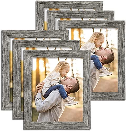HOUSE DAY Marco de fotos 20x25 cm 6 piezas, cuadros de exhibición 20x25cm Marco de madera envejecida con marco de fotos de madera de vidrio acrílico irrompible para exhibición de mesa y pared, gris