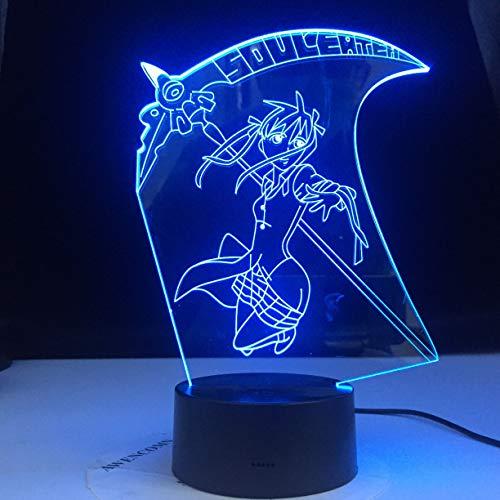 Esser Maka Albarn Anime Soul Figur Mädchen Nachttisch Nachtlicht 3D LED USB Tischlampe Kinder Geburtstagsgeschenk Nachtzimmer Dekoration