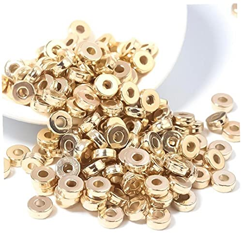 Onsinic Oro plano redondo espaciador cuentas disco suelto joyería hacer cuentas para bricolaje pulsera collar pendiente suministros de artesanía