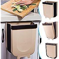 TTMOW Cubos de Basura Plegable Colgando para la Cocina, Coche 9L (Marrón)