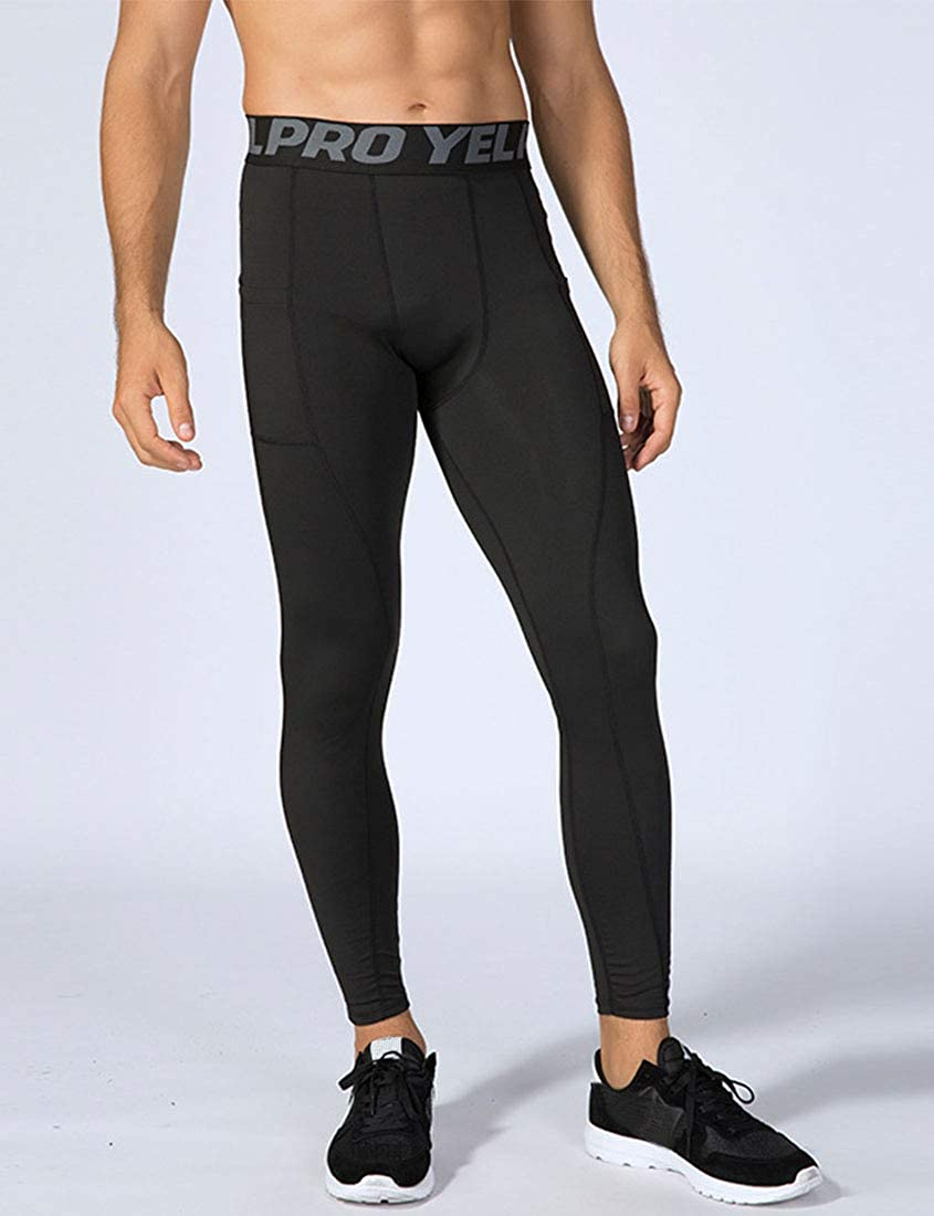 2 or 3 Pack Mens Compression Pants Football Leggings Running Tights with Pocket Quick Dry Workout Sports Baselayer