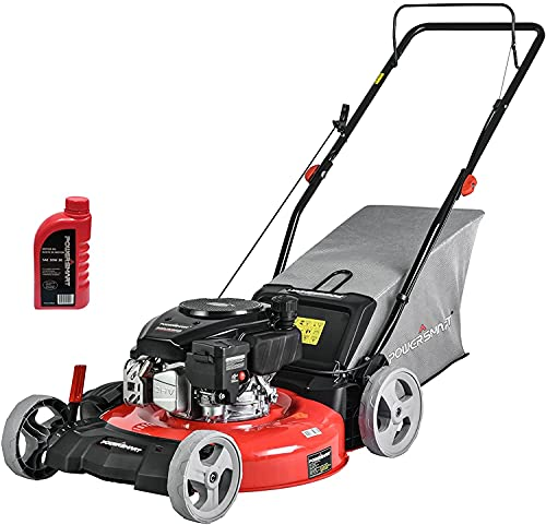 PowerSmart Push Lawn Mower Gas Powered - 21 Inch, 144CC 4-Stroke Engine, 5 Hight Positions Adjustable, 3 in 1 with Bag