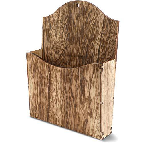 Juvale Zeitschriftenhalter aus Holz - Mit Wandhalterung - Ideal für Wohnzimmer, Büro, Wartezimmer in Arztpraxen - Braun, 22,1 x 29,5 x 5 cm