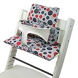 Bambiniwelt - Juego de funda de repuesto para trona o silla infantil Stokke Tripp Trapp, reductor de asiento (disponible en alemán) gris rojo gato