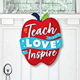 Big Dot of Happiness Thank You Teachers - Hanging Porch Teacher Appreciation Outdoor Decorations - Front Door Decor - 1 Piece Sign