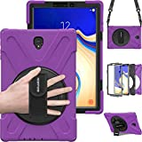 Galaxy Tab S4 10.5 Tablet Case, BRAECN Three Layer Hybrid Shock-Proof Case with 360 Degree Rotating Kickstand,Hand Strap,Shoulder Strap for Samsung Galaxy Tab S4 SM-T837/T835/T830 Tablet (Purple)