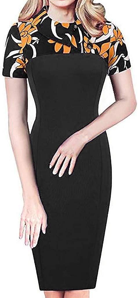 Fonma Women's Retro Chic Colorblock Lapel Career Tunic Dress