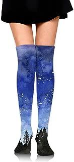 Watercolor Painting Starry Night Women's Over Knee Thigh Socks Girl High Boot Stockings Leg Warmer