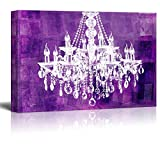 Big buy store Framed Oil Painting Canvas Wll Art-Crystal White Chandelier on Grunge Purple Background-Giclee Print and Stretched, Ready to Hang(16' x 20')