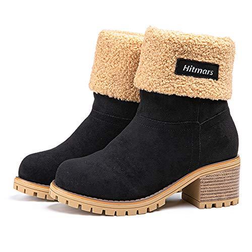NEOKER Damen Winterschuhe Schneestiefel Plateau Shorts Stiefel Chunky Heels Boots Stiefeletten Fell Bequeme Gefüttert Mode Schuhe 6 cm Schwarz 42