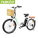 NAKTO 22' Electric Bike 250W Electric Bicycle Sporting Mountain Bike with 36V 10Ah Lithium Battery