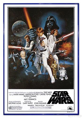 Close Up Star Wars Poster Style 'C' - American (94x63,5 cm) gerahmt in: Rahmen blau